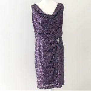 Ralph Lauren Purple Sequined Evening Dress Size 12